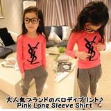 めちゃ売れ パロディーtシャツ Pink Long Sleeve Shirt/ピンク ロングスリーブ YSLシャツ