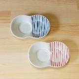 【有田焼】つれづれ十草 まゆ型 しょうゆのすべり台 (小皿) (青/赤)