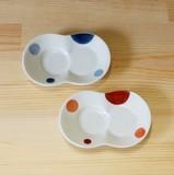 【有田焼】二色丸紋 まゆ型 しょうゆのすべり台 (小皿) (青/赤)