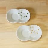 【有田焼】ワイヤープランツ まゆ型 しょうゆのすべり台 (小皿) (緑/黄)