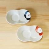 【有田焼】一輪花 まゆ型 しょうゆのすべり台 (小皿) (青/赤)