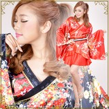 0017帯付き花魁シリーズ☆裾オーガンジー付き和柄サテン着物ミニドレス