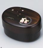 ミニ小判 2段弁当箱 黒木目 親子うさぎ[日本製]お弁当箱/ランチボックス