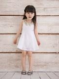 キッズ 女の子 スパンコール ワンピース ホワイト/Kids Girl, One Piece Dress with Spangle