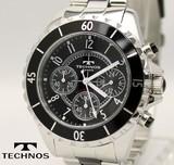 【TECHNOS】セラミック クロノグラフ 腕時計 メンズ T3032