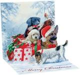 UP WITH PAPER トリンケットカード 立体仕様 クリスマス <犬×プレゼント>