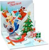UP WITH PAPERトレジャーズカード 立体仕様 クリスマス <犬×そり>