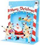 UP WITH PAPER サウンドカード 立体仕様 クリスマス <サンタ×トナカイ>
