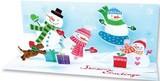 UP WITH PAPER パノラミックスカード 立体仕様 クリスマス <スノーマン×マフラー>