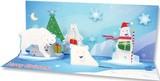 UP WITH PAPER パノラミックスカード 立体仕様 クリスマス <白くま>