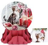 UP WITH PAPER スノーグローブカードS/L 立体仕様 クリスマス <猫>