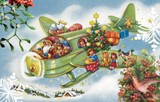 ROGER LA BORDE クリスマス スモールカード <サンタ×飛行機>