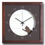 小さめサイズが可愛い北欧テイストのインテリアクロック(時計)VerdureClock/Cat/BR
