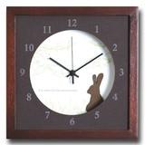 小さめサイズが可愛い北欧テイストのインテリアクロック(時計)VerdureClock/Rabbit/BR
