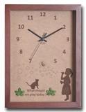 こどもたちとネコの仕草が可愛い北欧テイストのインテリアクロック(時計) Bubble Girl/BR