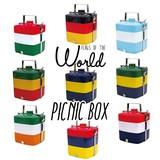 【メラミンシリーズ】ピクニックボックス -FLAG OF THE WORLD-(スクエア3段)国旗柄 9柄展開