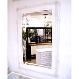 木製ホワイト【-壁掛けミラー(角型)-】豪華装飾べべリング加工(幅広面磨き加工)