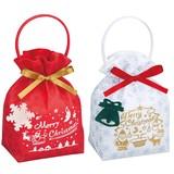 ★クリスマスリボンバッグ2★アップリケが可愛いクリスマスパッケージ*全2色