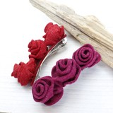 【均一SALE】薔薇のフェルトバレッタ【2色】