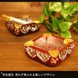 存在感◎思わず見とれる美しいデザイン【インドラビ灰皿(スクエア)】アジアン雑貨