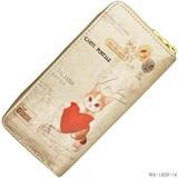 【かわいいネコちゃん】エナメル調プリント長財布B ラウンドファスナー