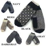◆ユニセックス ◆そろばんたすき模様、二重暖かい手袋、グローブミトン
