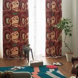 遮光カーテン【リンゴ】リンゴの果実をダイナミックに構成。レトロでおしゃれな遮光カーテン