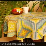 カラフルな幾何学柄が食卓をオシャレに演出【幾何学サークルテーブルクロス】アジアン雑貨