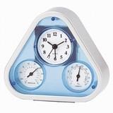 アイトック 温湿度計付き置時計 トライアングル クロック サーモ 644
