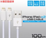 意匠登録済iPhone SE/6/6sなどの充電&データー通信に!iPhone/iPad用USB二股ケーブル 100cm
