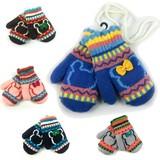 子供用◆手袋◆ミトンひも付き、クマ模様、グローブ、二重織り、暖かい!!