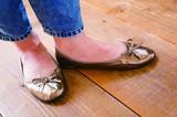 【再値下げ】【携帯靴】折りたたみシューズ(ポーチ付)(エナメル)