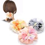 ぼかし花柄フリルサークルのヘアゴム