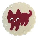 【いっしょがいいね】猫 フェルトコースター 赤/白
