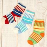 【再セール!】子供用ストライプ&ボーダー柄ソックス9足セット◇3P靴下◆男の子女の子兼用