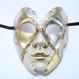 【イタリア製】マスケラ《ベネチアンカーニバルマスク》フルフェイス【farfalla】蝶 シルバー&ゴールド