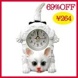 特価!キャットクロック:白ネコ