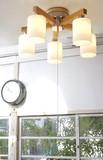 【温もりのある木の質感がとてもやさしい】5灯シーリングライト(ブラウン/ナチュラル)