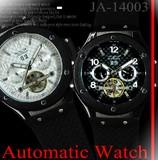 【ケース・保証書付き】ラバーベルト 自動巻き DAY&DATE ビッグフェイス 腕時計☆JA-14003