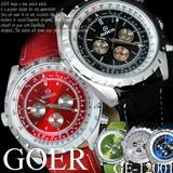 【ケース・保証書付き】革ベルト 自動巻き DAY&DATE 24針  メンズ 男性用 腕時計☆GE-12001