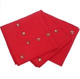 45×45cm 花柄刺繍 テーブルナプキン ハンカチ レッド IKF