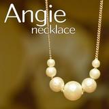 再入荷しました。【Angie】コットンパール7コ玉 ゴールド ネックレス!シンプル&フェミニン!***