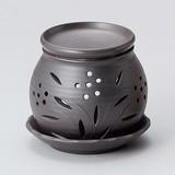 お部屋の消臭に!■常滑焼【茶香炉】富仙黒丸茶香炉
