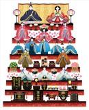 オリジナルひなまつり豪華7段飾りウォールステッカー はがせる シール式 雛人形 ひな祭り 親王飾り