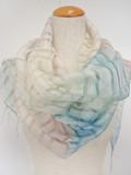 SALE【春夏新作】シルク混のチェック織にグラデーション染めのストール♪FS-394