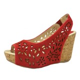 Genuine Leather Cow Leather Flower Mesh Wedged Sandal