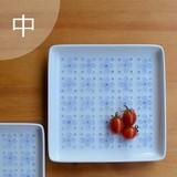 【白山陶器】染付小花 正角皿(中)<波佐見焼>