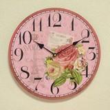 クラシック調ローズ柄掛時計