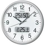 訳あり特価!セイコー電波掛時計  カレンダー、温度・湿度表示つき KX383S