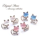 キュート★ネコのピアスorイヤリング♪ピンクゴールドのキラキラキャット/猫/z-839